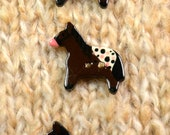 Playful appaloosa pony ceramic buttons x3