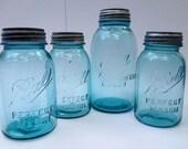 Antique Blue Ball Perfect Mason Jar Collection with Original Zinc Lids