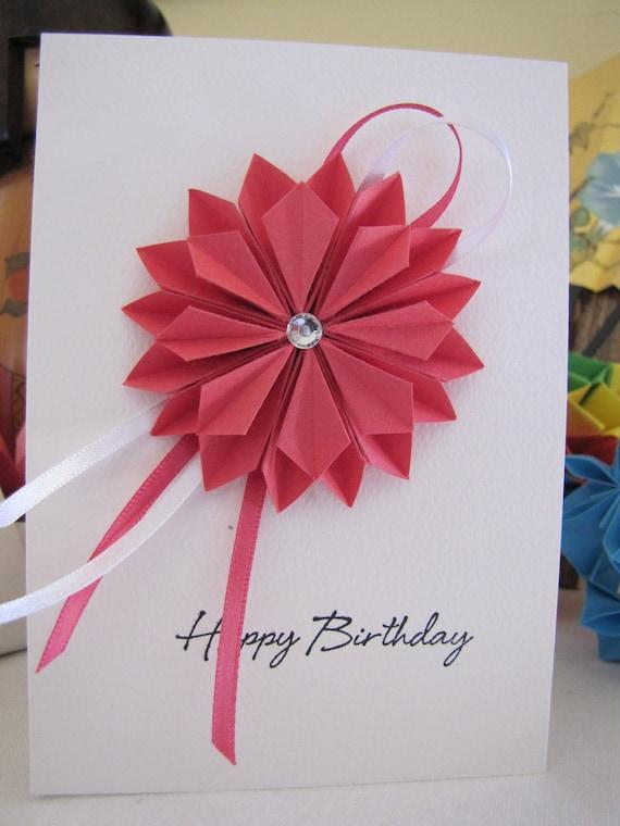 Items similar to Origami Dahlia Birthday Card - Pink - on Etsy - photo#24