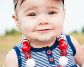 Chunky Red and White, Bling Necklace Baby Girls