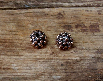 Custom made solid bronze bumpy beads made by Old World Bronze,  (Also available in Sterling)