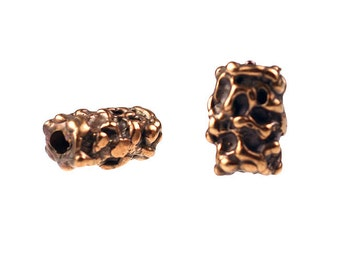 Set of (2) Solid Bronze Free-Form Tube Shaped  Beads.