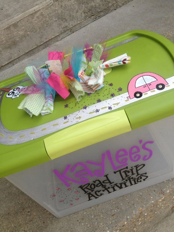 Cute, Fun, Functional: Custom, hand-painted large plastic storage container w/ latching lid & funky handle for kids
