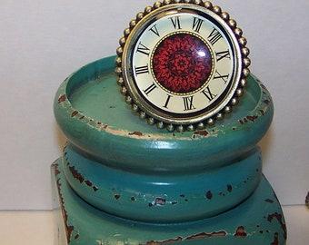 Glass Decorative Red/Cream Knob, Dresser Knob