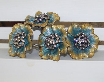 Floral Knob- Turquoise and Gold with Rhinestone Center-Dresser Knob-Drawer Pull, Set of 6