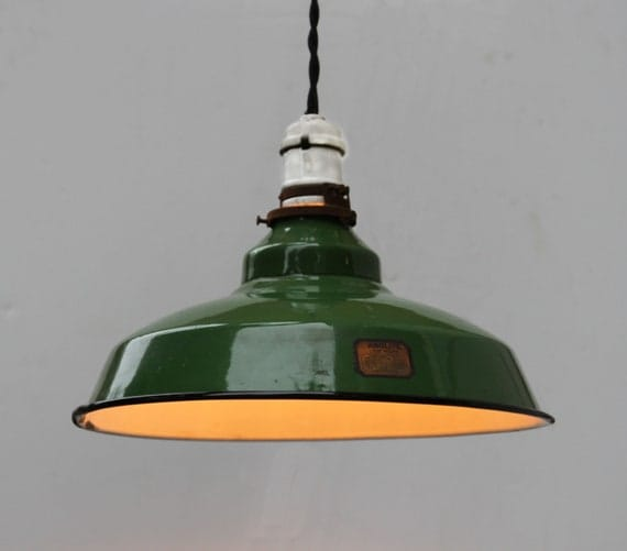 Items Similar To Vintage Industrial Green Enamel Pendant