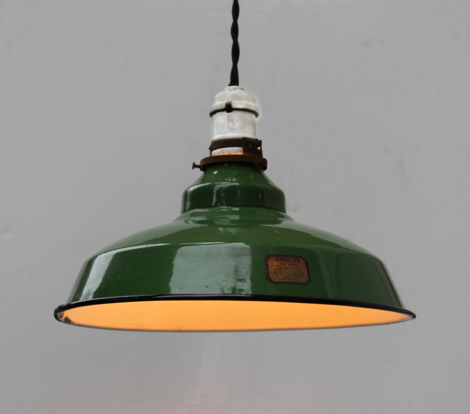Vintage industrial green enamel pendant light fixture by turul for Antique pendant light fixtures
