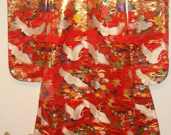 Beautiful Red Vintage Japanese Wedding Kimono (Uchikake)
