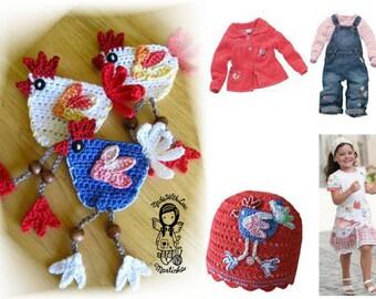 Crochet PATTERN, Applique Little Hen, Application, DIY Pattern 13, Instant Download