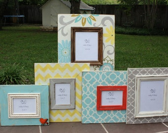 custom hand painted distressed picture frame gallery wall grouping | baby girl nursery |chevron frame |floral painted frame |girl room decor