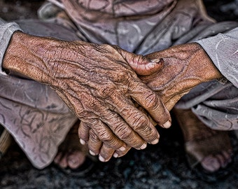 """Working Woman's Hands: Hoi An, Vietnam - Fine Art Image from the HarmonyWishes Collection/ 10"""" x 15"""" image on 13"""" x 19"""" paper"""