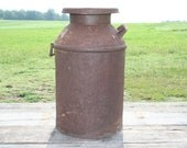 Vintage Country Chic Antique Farm Milk Can with Top Rusty