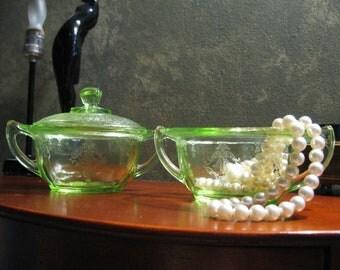 Set of 2 Vintage Depression Glass Mint Green
