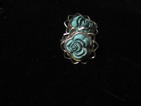 Vintage Blue Rose Earrings - Costume Jewelry 1930's