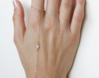 Finger Bracelet, Gold Slave Bracelet with CZ Diamond Gold 14kt Gold Filled