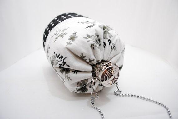 Unique Clutch Purse / Bridesmaid Bridal Clutch / Cosmetic Bag Design Showcase - Black White Flowers Cotton Fabric