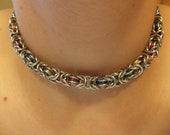Rainbow Byzantine Choker Necklace