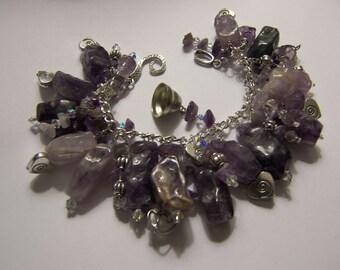 Amethyst, Crystals & Silver Bracelet