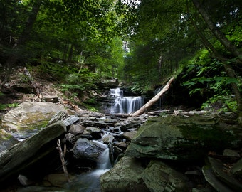 Landscape Photography - Waterfall in the woods - rocks stream nature spring green 8x12