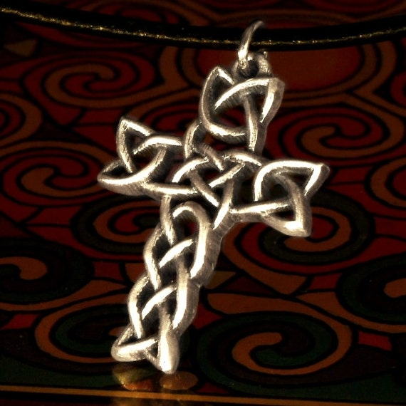 Interwoven Celtic Cross in Sterling Silver Traditional Woven Design with Leather Cord CP-80