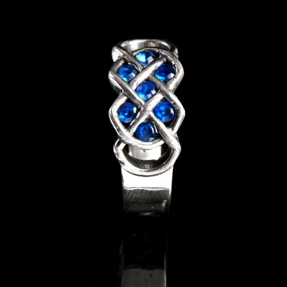 Celtic Blue Sapphire Ring With Infinity Knot Design in Sterling Silver, Made in Your Size CR-771