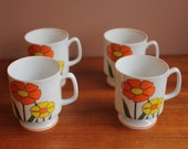 4 Vintage Flower Power Pedestal Teacups Japan