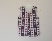Vintage Red White and Blue Star Romper Size 6-9 Months