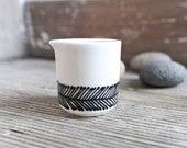 "Hand-painted vintage mini milk creamer ""somewhat angular"", black and white"