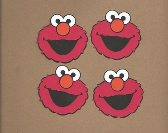 4- 2.5 inch tall Elmo Face Cricut Die Cut