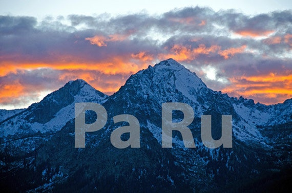 "13""by19"" Fine Art Print of Sawtooth Mountain Range at Sunset - Idaho, USA"