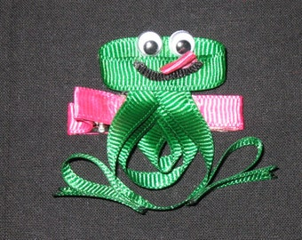 "NEW ""GREEN FROG"" Girls Ribbon Sculpture Hairbow Clip Bow Boutique Spring Summer Froggy"