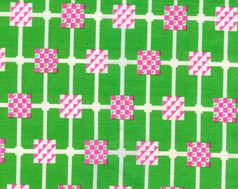 Vintage Green and Pink Fabric - 1 Yard