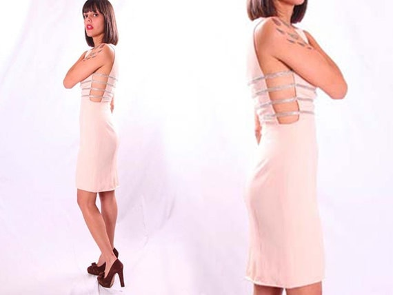 Vtg PINK Peach Silver Beaded CAGE Cocktail TROPHY Party Mini Dress 80s xxs/xs