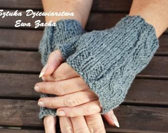 Grey Fingerless Mittens , fingerless gloves in handmade-wrists warmers gloves