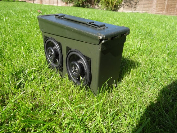 30.Cal ammo can Boombox. Water resistant rechargeable speaker system