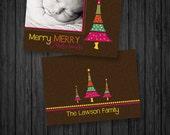 1 - 5x7 Christmas Card Template  -  .PSD files - Card Templates for Christmas - Retro Christmas- cct BTS