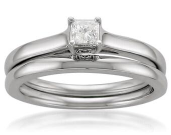 14k White Gold Princess-cut Solitaire Diamond Bridal Ring Set (1/4 cttw, I-J, I1-I2)