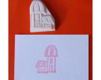 Building Hand carved Rubber Stamp - House hand carved stamp, russian handmade stamp, russian building handcarved stamp
