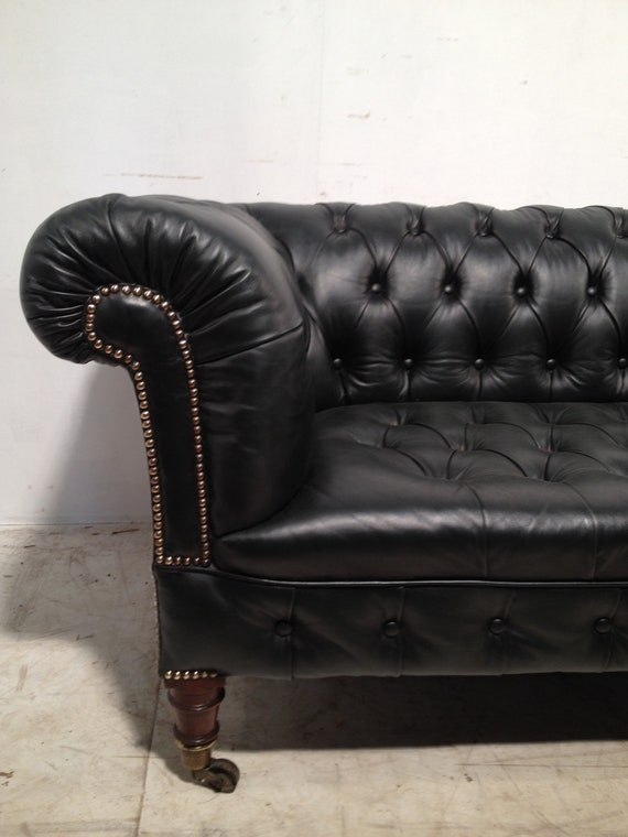 Items similar to Victorian Leather Chesterfield sofa'antique green' on Etsy