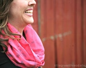 Coral & Gray Floral Infinity Scarf