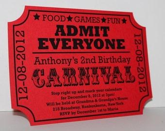 Carnival Birthday Ticket Invitation