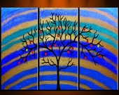 HUGE Blue Abstract Tree Oil Painting Original Metallic Textured Modern Contemporary Landscape Gallery Art Canvas