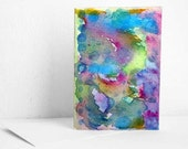 Original Abstract Rainbow Swirl Blank Watercolor Card