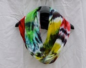 Infinity Scarf, Red, Yellow, Green, and Black Rasta Tie Dye - HandmadeItDesigns