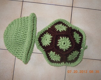 Crochet Turtle Shell and Hat Set