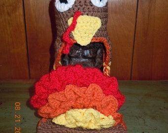 Crochet Turkey Hat and Matching Diaper Cover set