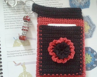 "Red and Black ""Bloomer"" Crochet Case with Beaded Keychain for iPhone, Smartphone, Camera, Cell Phone, MP3 Player"