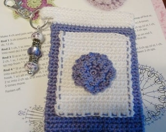 "White and Purple ""Bloomer"" Crochet Case with Beaded Keychain for iPhone, Smartphone, Camera, Cell Phone, MP3 Player"