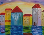 "ORIGINAL LARGE  CITY Abstract  28"" Painting  Contemporary  Art  Modern Houses by Water Landscape by Tanja Bell"