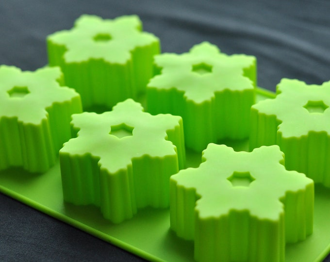 Silicone Snowflake Soap Molds Cake Chocolate Jelly Ice Candle Mould - 6 Cavity